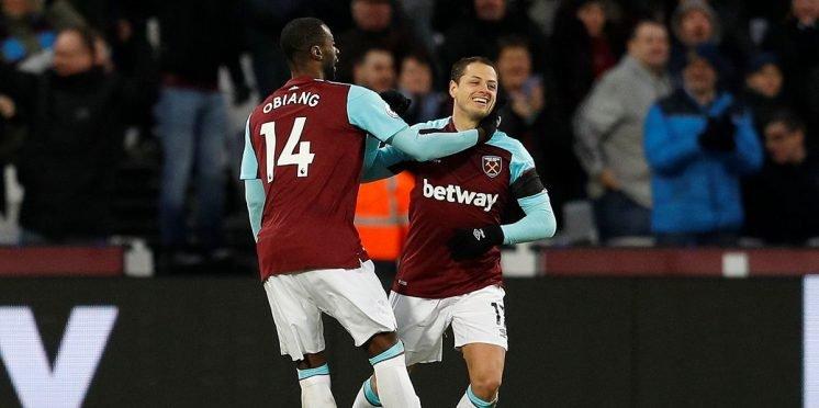 West Ham United striker Javier Hernandez scores against Bournemouth