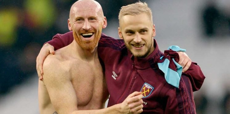 West Ham defender James Collins (left) and forward Marko Arnautovic
