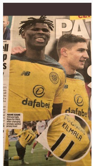 The Daily Record scored an own goal in an effort of making a fool of Celtic as the spelling of striker Klimala's name was wrong during the first half of the Clyde match.