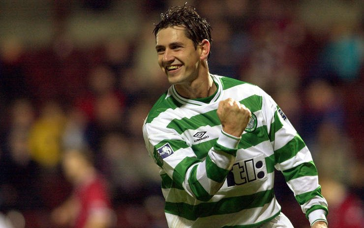 Celtic's Jackie McNamara celebrates after scoring in the last minutes of extra time which left Celtic with a 5-2 victory at Hearts v Celtic CIS Cup quarter-final at Edinburgh's Tynecastle stadium.